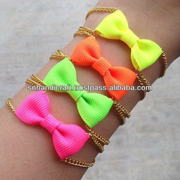 Bow Tie Bracelet Neon Color Woven Fabric Bracelets Satin Ribbon Promotional Product On Alibaba