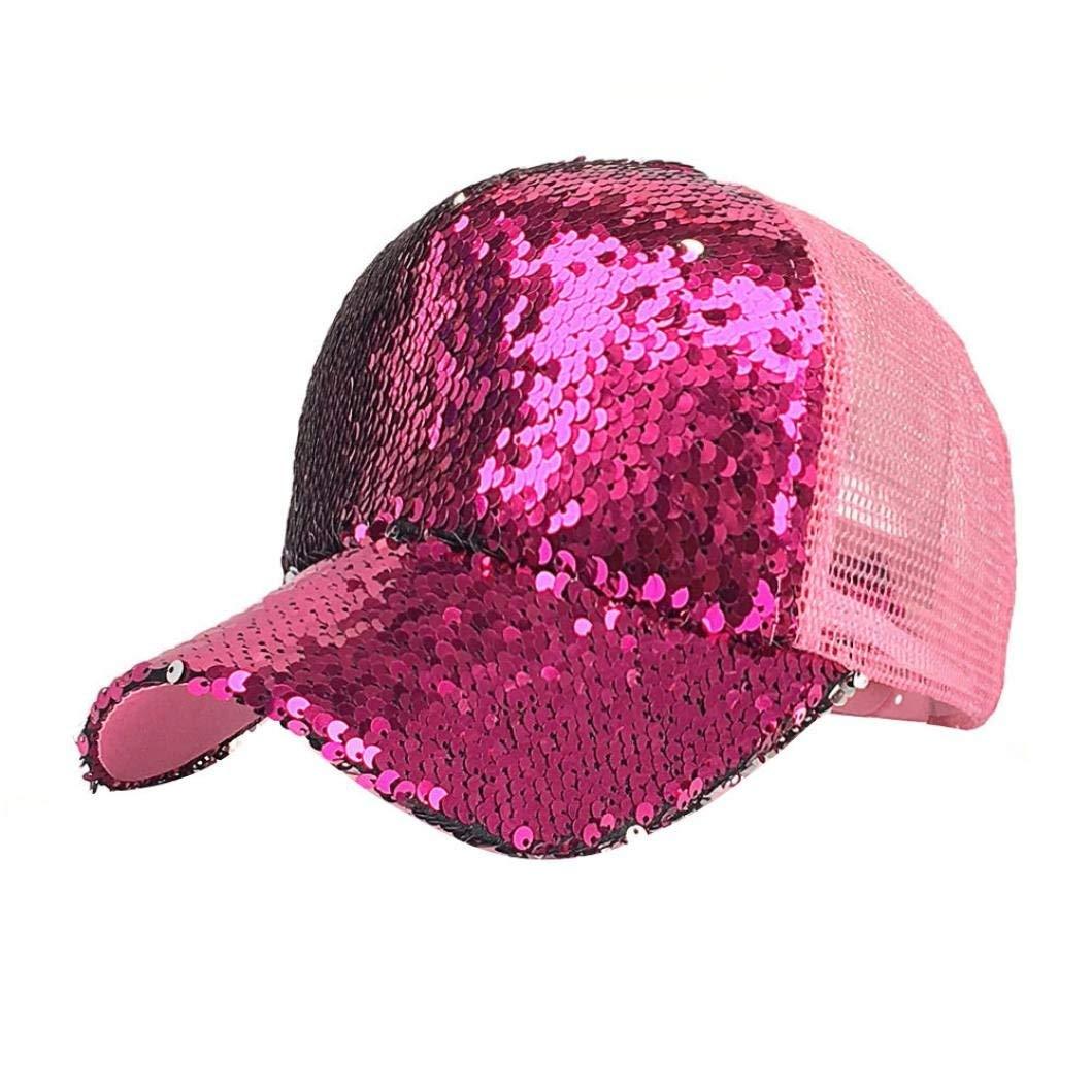 Get Quotations · Tronet Womens Baseball Cap High Ponytail Messy Bun Glitter  Sequin Rave Mesh Hat Adjustable Baseball Cap a33c72400027