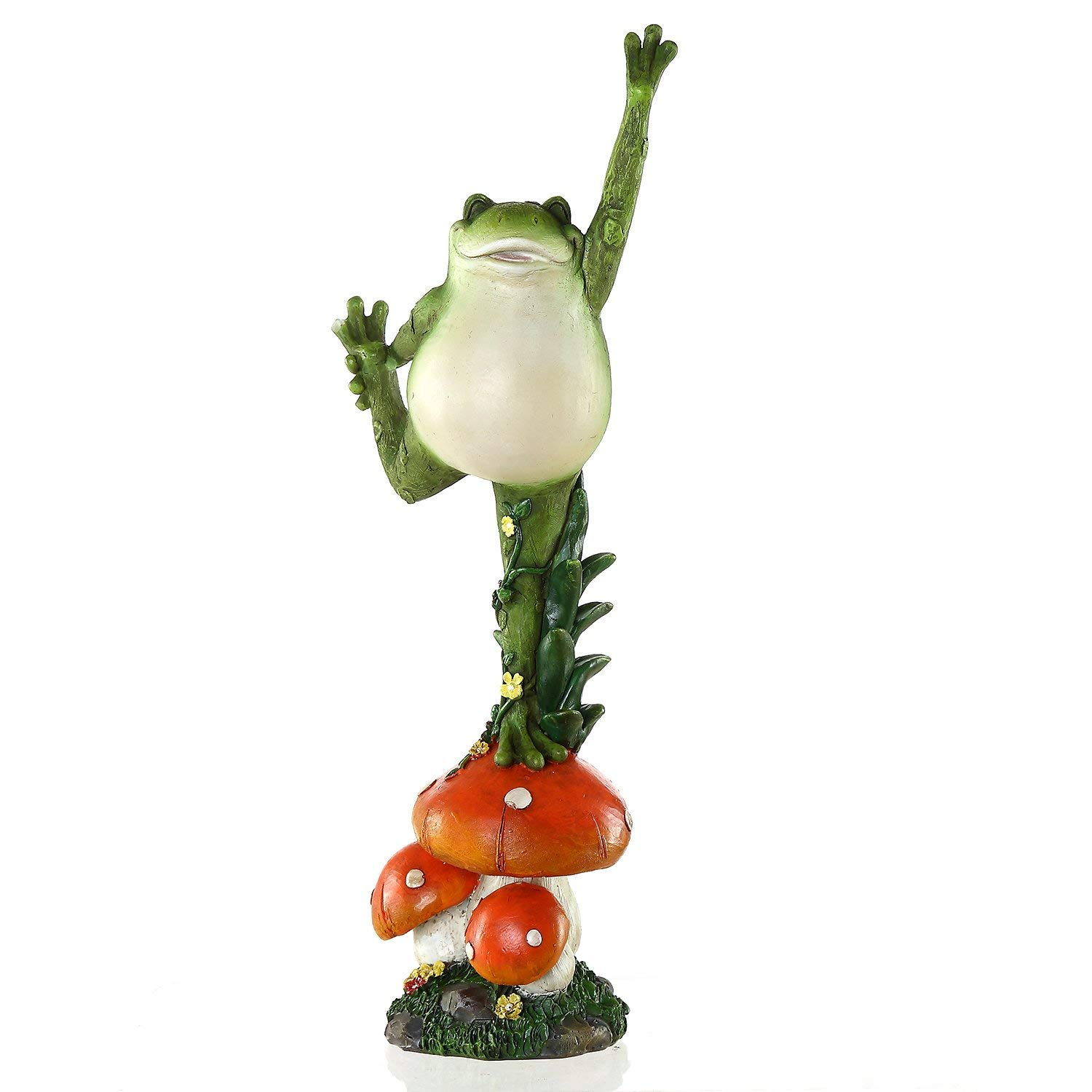 Ivy Home Hand Painted Outdoor Garden Statuary,Yoga Frog Standing on The Mushroom