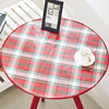 Custom Tablecloth Shape Printed Check Cotton/Linen Fabric Laminated PVC Vinyl Tablecloth Round
