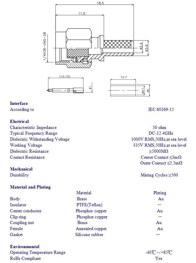 RF Coaxial macho de crimpado conector SMA para Leoni Dacar 302 Cable