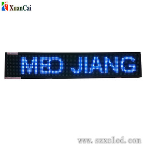 DIP high brightness P10-16X96 double line moving text messages led display sign with single red, bule, yellow, green color