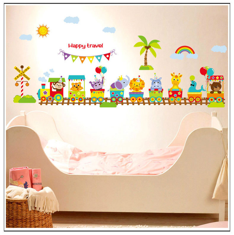 achetez en gros baby train wall decals en ligne des grossistes baby train wall decals chinois. Black Bedroom Furniture Sets. Home Design Ideas