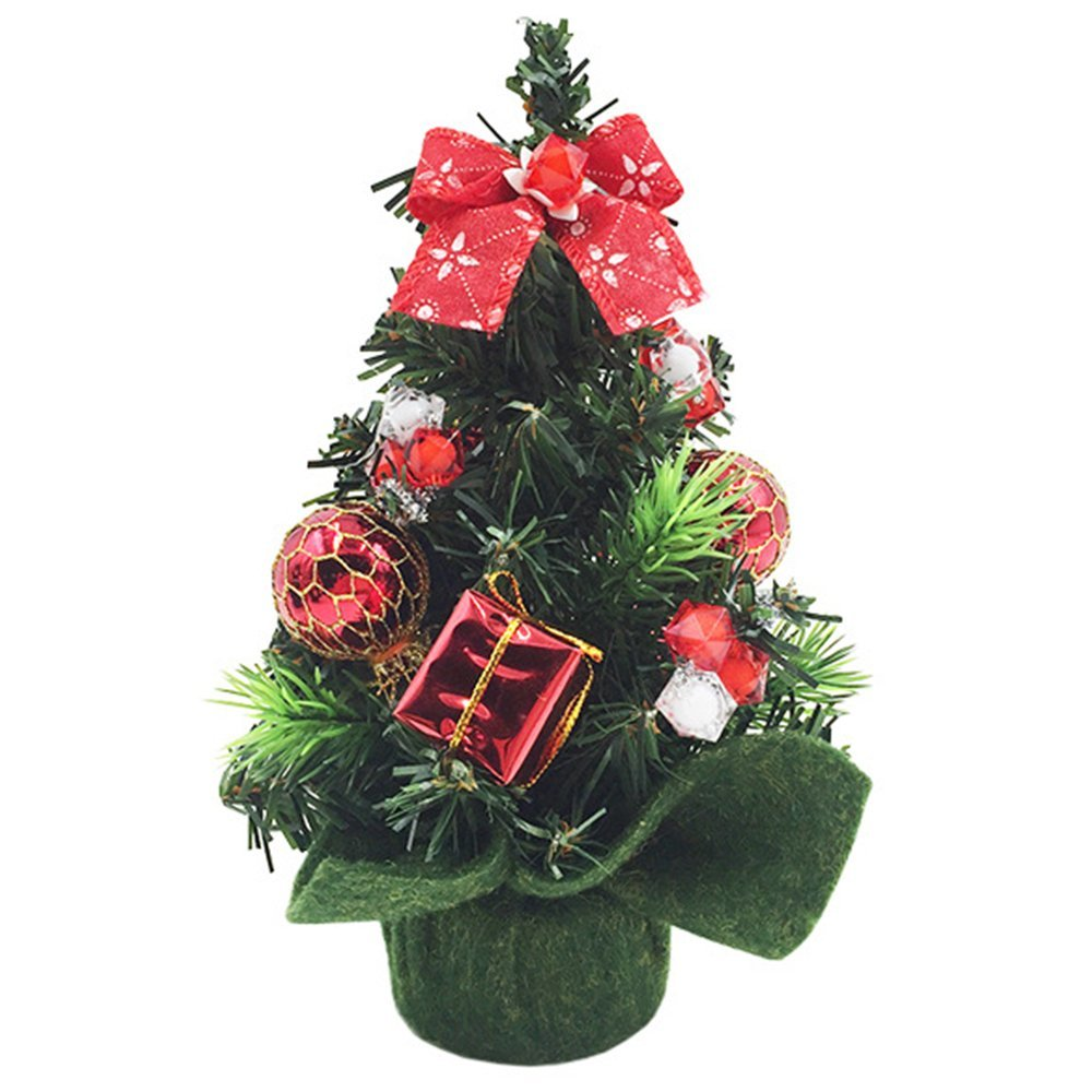 Blytieor Happy New Year Mini Christmas Tree Fine Decorated With Ornaments Merry Christmas Decoration for Home Decor Decorated Mini Green Christmas Tree 8.0 Inches Tall