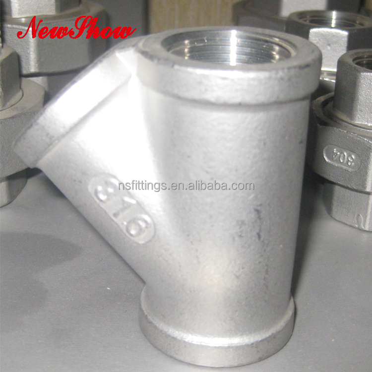 316 Stainless Steel Casting Threaded NPT Latern 45Degree Tee With High Quality