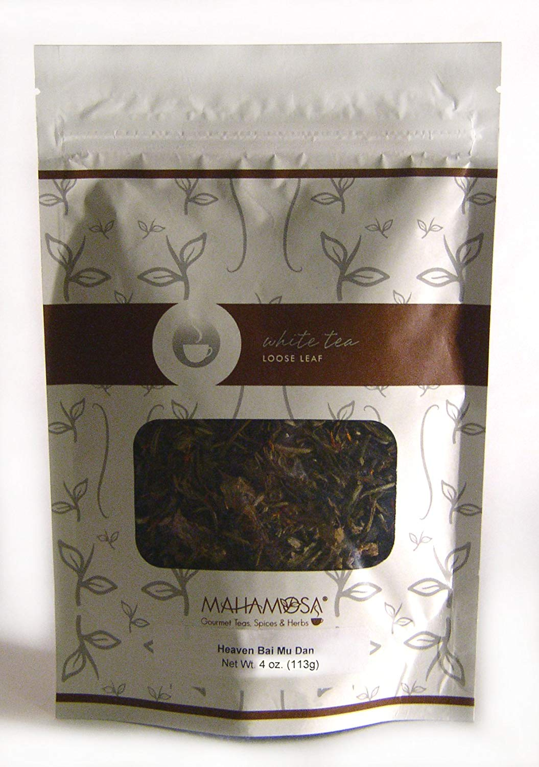 "Mahamosa ""Heaven"" White Tea (Pai Mu Tan) 4 oz, White Tea Loose Leaf (Loose-Leaf) Blend (with cranberry, safflower, rosebuds, blue mallow blossoms, cherry, cranberry flavor)"