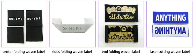 Custom clothing label end folding for damask woven label garment Cheap Woven Label For Clothing supplier