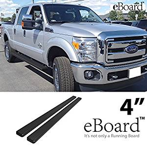 """eBoard Running Boards Combo Black 4"""" For 99-16 Ford F250/F350/F450 SD Crew Cab Nerf Bars Step Bars Side Steps"""