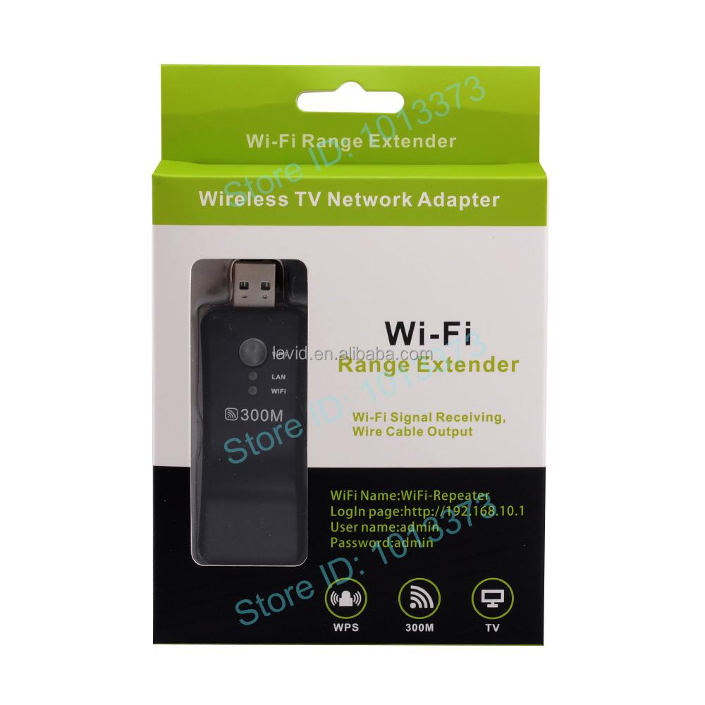 300M WiFi Range Extender USB Wireless Smart TV Network Adapter RJ45 WPS Repeater