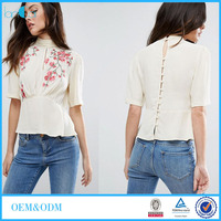Floral Embroidery Women Blouse with Button Placket xxxl Women Clothing LC5021-G