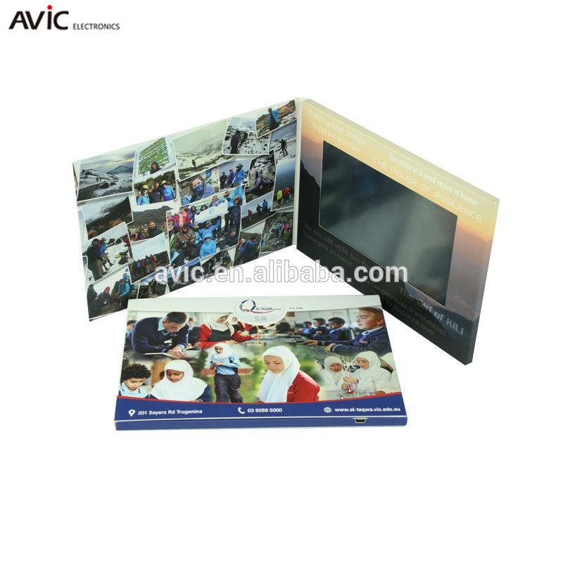 "7 ""lcd ビデオグリーティングカードギフト、 lcd/ips ビデオプレーヤーパンフレットと led ライト"