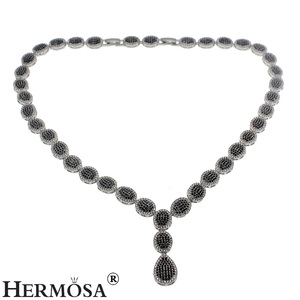Hermosa Wholesale Fashion 925 Silver Plated Blue Sapphire Amethyst White Topaz Necklace Adjustable Size 18inch