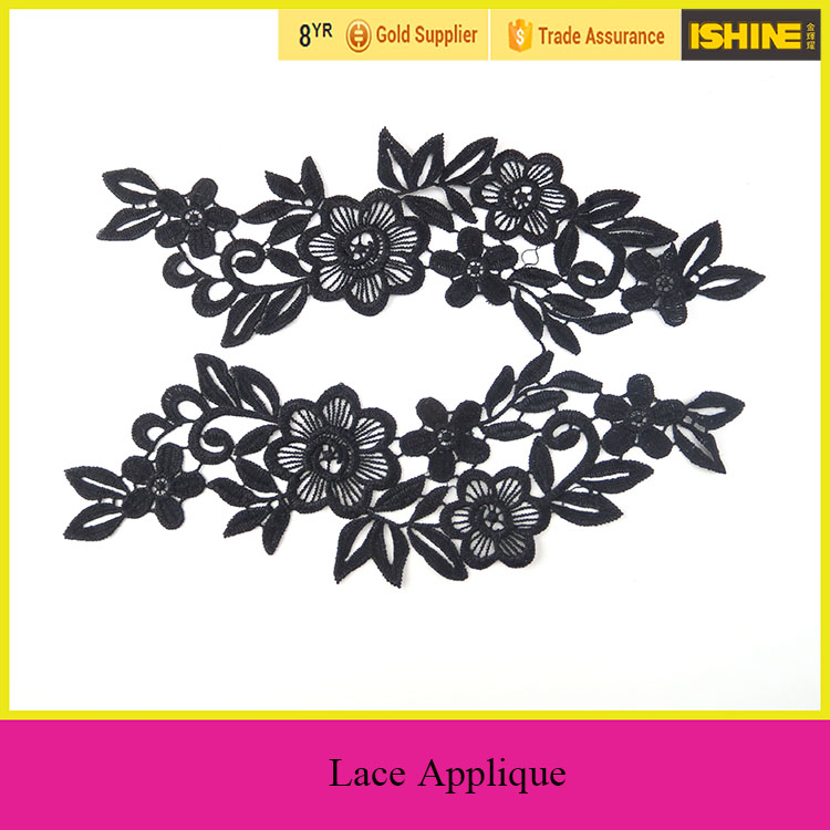 Wholesale Flower Embroidered Lace Trims Black Embroidery Lace Patches by Pair
