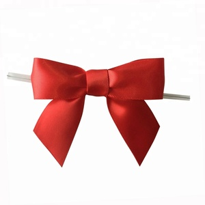 Free Samples 3 inch Red Satin pre-tied ribbon with clear twist tie
