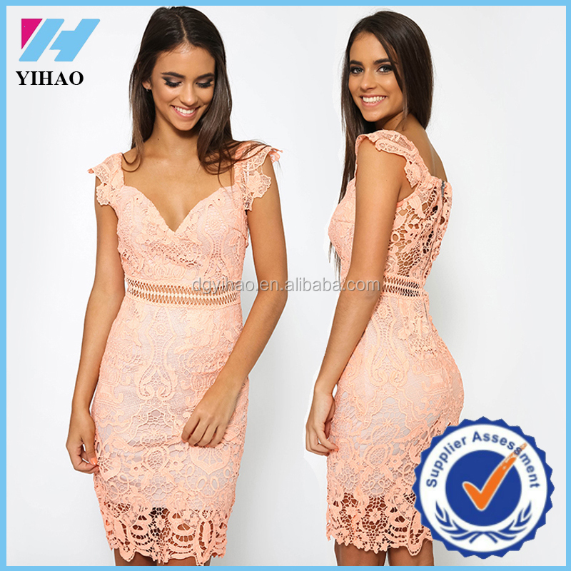 7bf1575d1b9 China online shopping lace dress patterns pink lace dress for elegant women