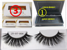 OEM 3D silk strip eye lashes faux mink false eyelash black/clear band Available