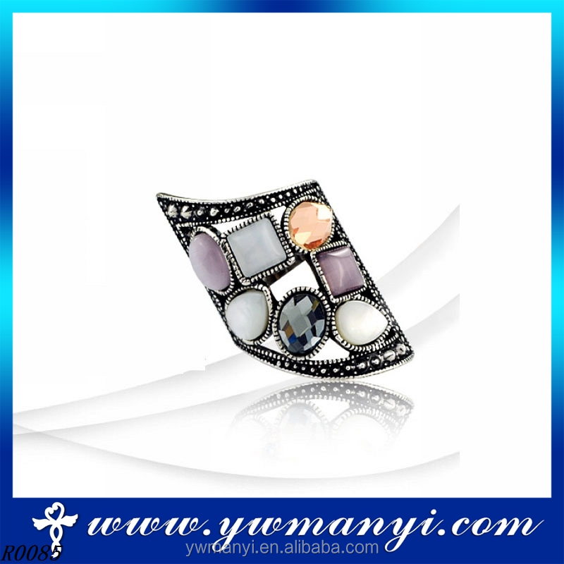 Top Quality Amazing alloy main material vintage opal ring man R85