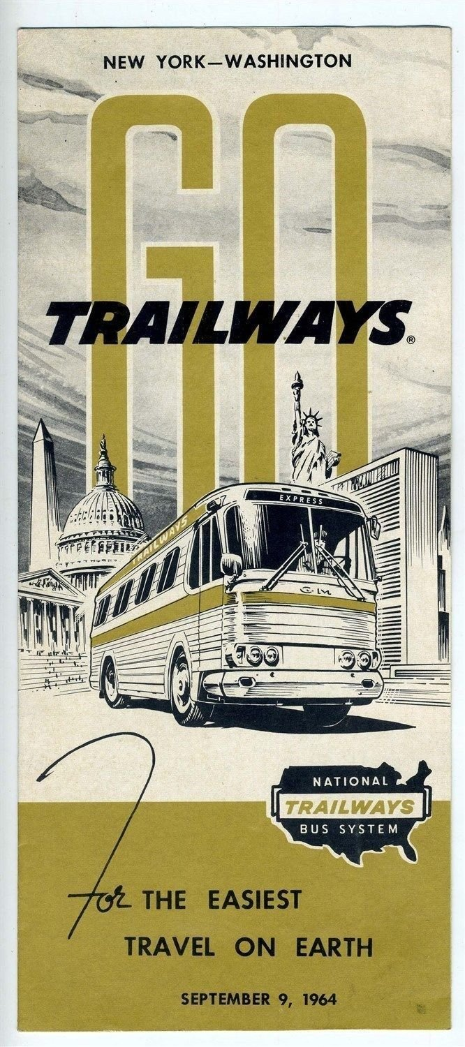 National Trailways Bus System New York Washington Timetable 1964