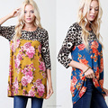 2018 New Autumn fashion Latest Design Digital Print Tunic 3/4 Sleeve T Shirt Skirt Ladies Long Tops Woman Blouse
