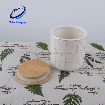 Dehua White Kitchen Ceramic Coffee Storage Container Jar With Bamboo Lid