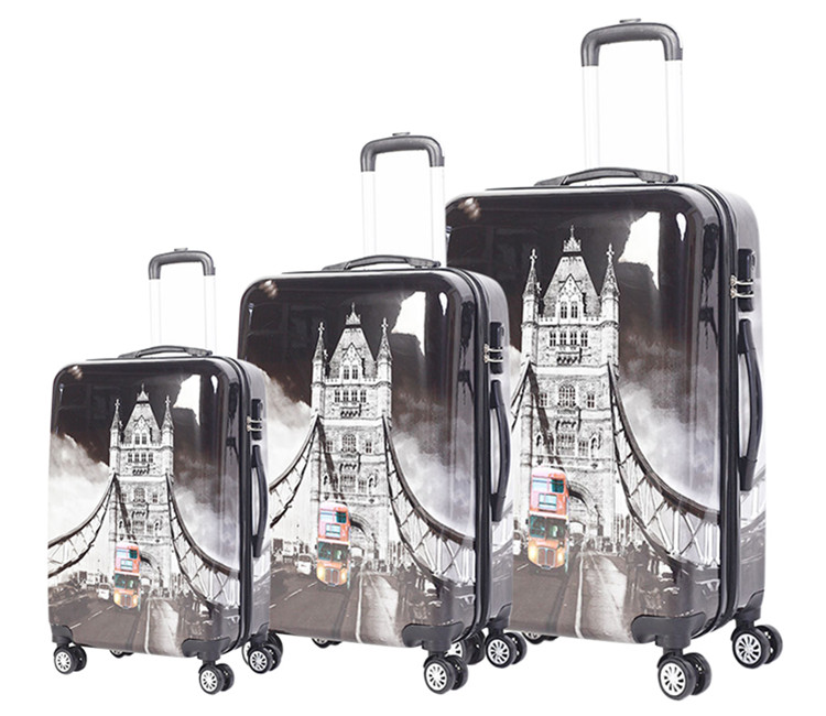 Factory wholesale color printed abs pc travel trolley carry on luggage
