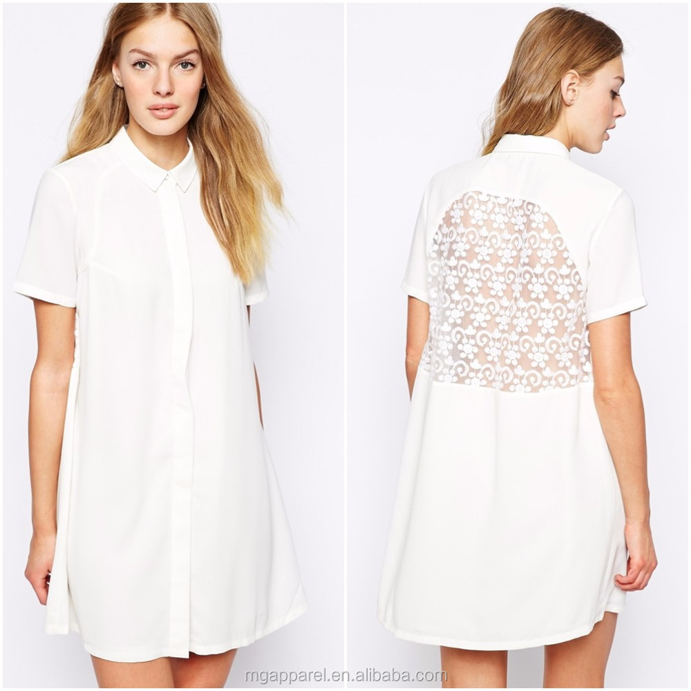 Wholesale Summer Dresses For Women Casual Embroidered White Shirt