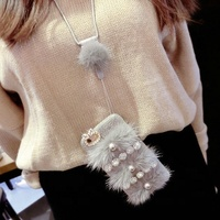 Artificial Pear Luxury Phone Case Plush Hairy Ball with Sling for Phone Cover