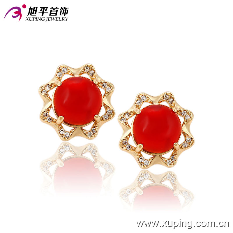 91214 Ancient designer simply style fine jewelry flower shaped colorful opal stud earrings for sale