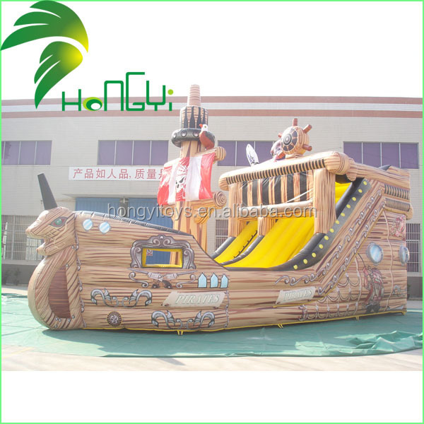 Innovation Attractive Custom Pirate Ship Shape Big Joy Inflatable Water Toy Slides