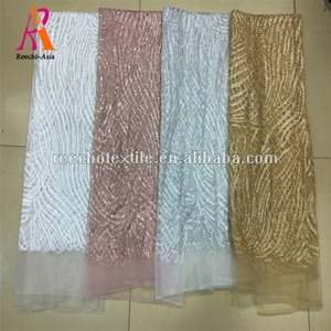 2018 wholesale sliver color beaded design sequin pearl lace fabric for dress