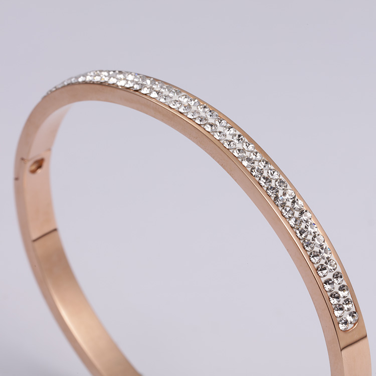 Diamond Ladies Bracelet Fashion Stainless Steel Jewelry Two Colors Optional Women Simple Bracelet Gifts