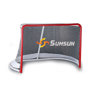 "All Purpose Steel Hockey Goal 72""wide*48""high*34""deep Hockey Folding Pro Goal, 2-Inch, Red/White"