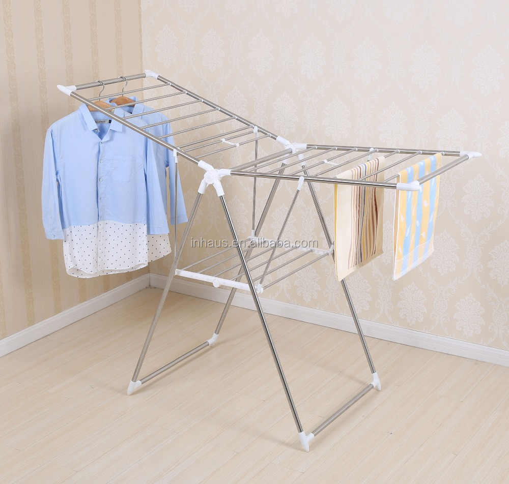 High Quality Indoor Pp Coated Steel Cloth Dryer Stand Foldable Hanging Laundry Airer Folding Table Clothes Rack