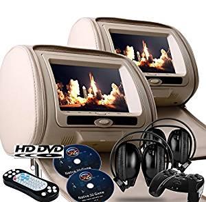 "2017 Tan Dual LED Digital 9"" Headrest Dvd Players Monitors USB SD With Zipper Covers & Wireless Headphones"