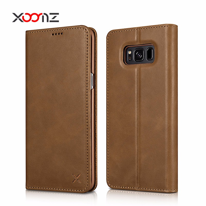 Wallet Design Genuine Leather Flip Mobile Phone Cover Case for Samsung Galaxy S8 S8 plus