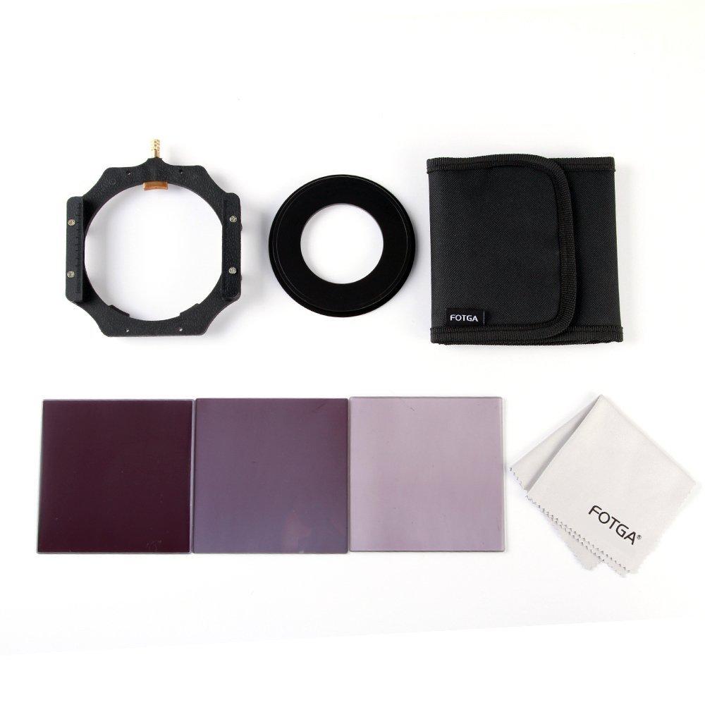 Fotga 4x4 100mm Square Filter Set 3pcs Square Neutral Density Filter ND2 4 8 + 1pcs Filter Holder +1pcs Clean Cloth +1pcs 3-slots Filter Case + 1pcs Adapter Rings (72mm) for Cokin P Series and Matte Box Filter Tray (Adpter Ring 72mm)