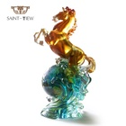 European Featured Crystal Art Glass Liuli Crfat Statue Standing Horse Figurines