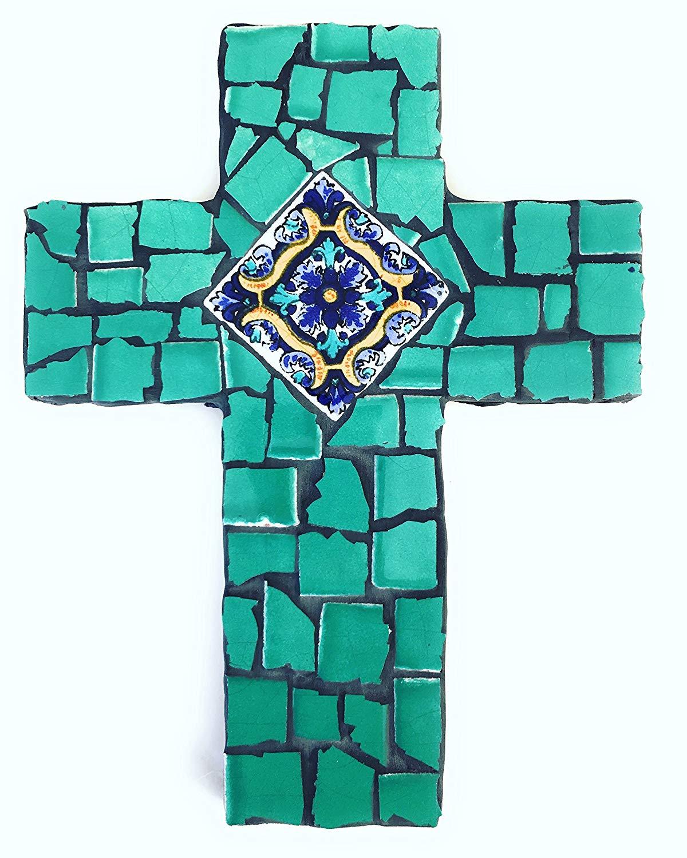 Mexican Tile Talavera Wall Mosaic Cross, Sea Foam Green Ceramic tile