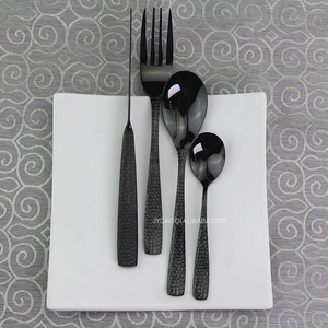 High grade black metal flatware, gloss black knife fork spoon restaurant 24pieces cutlery full set