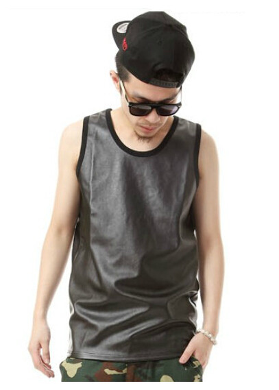 6704cd510e48a Get Quotations · new high quality tank top men Nightclubs Singer  Performance hip hop undershirt pu leather vest men