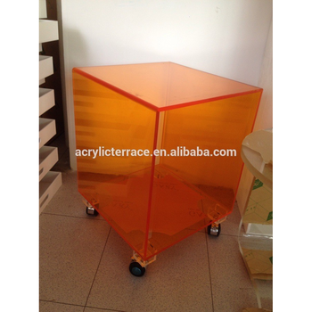 2011406101 Crystal Orange Acrylic Cube Table With Wheels