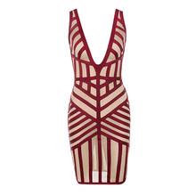 2019 Новый Для женщин Мода повязки знаменитости платье без рукавов в полоску сетки лоскутное выдалбливают Vestidos мини Вечеринка платье(Китай)