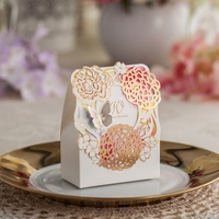 Elegant bride laser cut Design Wedding Favor paper gift box packaging