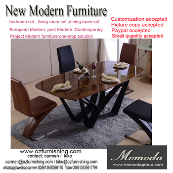 New Fashion Italian Modern Furniture Private Custom Made Wood /glass Top Metal  Dining Table Fashion