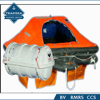 Inflatable life raft for marine use