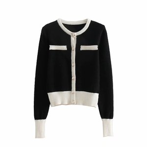 Women fashion knitwear button down cardigan multicolor patchwork sweater