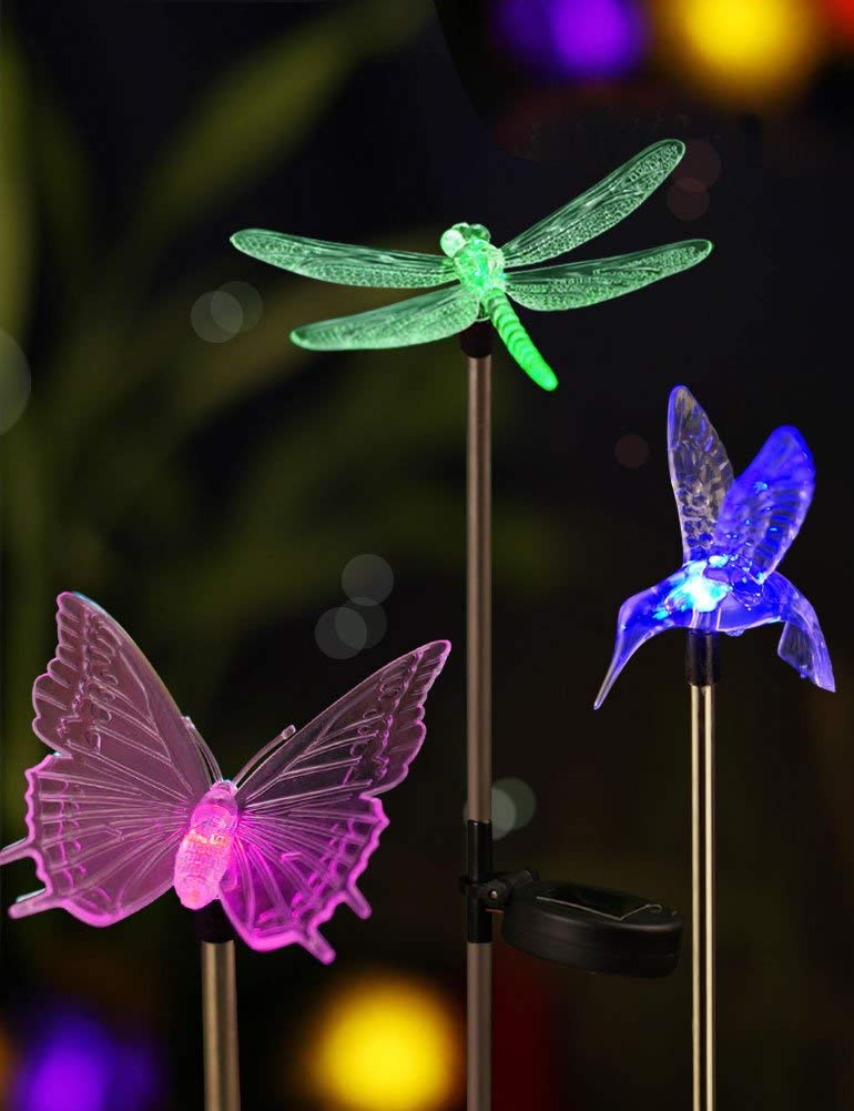 Bright Zeal [Set of 3] LED Color Changing Solar Stake Lights Outdoor - Garden Figurines (Hummingbird, Butterfly, Dragonfly) - LED Garden Lights Garden Decor - Yard Lights Solar Landscape Dragonfly's