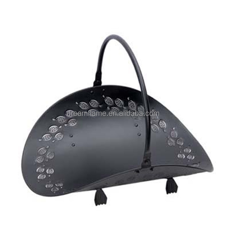 Metal Folding Black Fireplace Log Holder