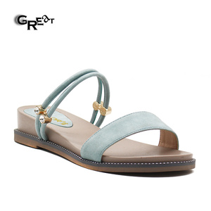 Summer Lady Shoes Fancy Slippers Simple Design Womens Flat Sandals