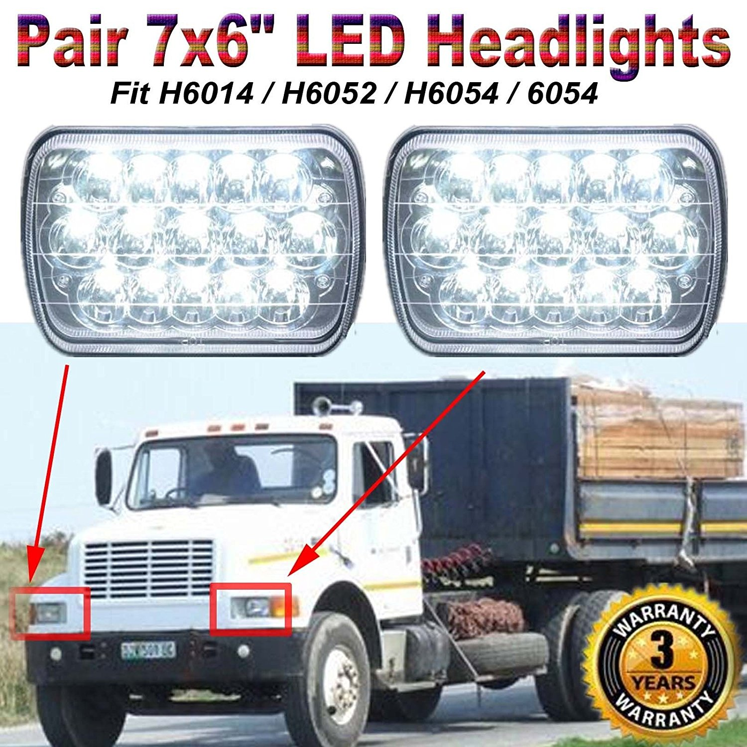 Sealed Beam LED Headlights 7x6 5x7 Sealed Beam for International 5900i 7300 7400 9200 9400 9900 Super Bright H6014 / H6052 / H6054 / 6054 Conversion Kit